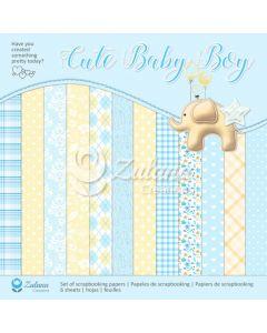 Set obojestranskih papirjev - Zulana Creations - Cute Baby Boy - 30,5x30,5cm - 6 listov - 250g