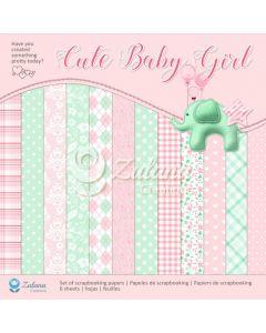 Set obojestranskih papirjev - Zulana Creations - Cute Baby Girl - 30,5x30,5cm - 6 listov - 250g