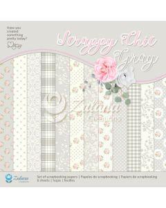 Set obojestranskih papirjev - Zulana Creations - Scrappy Chic Gray - 30,5x30,5cm - 6 listov - 250g