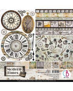 Set dvostranskih papirjev - Modern Times - vzorci - 30,5x30,5cm - 8 listov - 190g