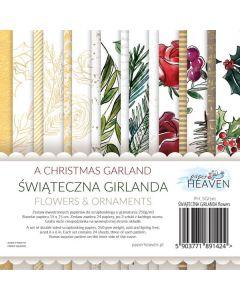 Set dvostranskih papirjev - A Christmas Garland - FLOWERS - 15x15cm - 24 listov - 250g