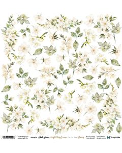 Papir za rezanje - Simple Story 3 Begie - Flowers - 30,5x30,5cm - 250g