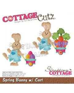 Rezalna šablona CottageCutz Spring Bunny w/ Cart