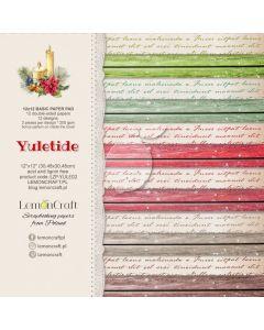 Set obojestranskih papirjev - YULETIDE basic - 30,5x30,5cm -12 listov - 200g - LemonCraft
