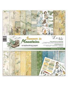 Set dvostranskih papirjev - Summer in Mountains - 30,5x30,5cm - 250g - 11 listov+bonus list - Lexi Design