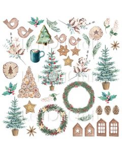Enostranski papir za izreze - This Christmas 08 - 30,5x30,5cm - 250g - Lemoncraft