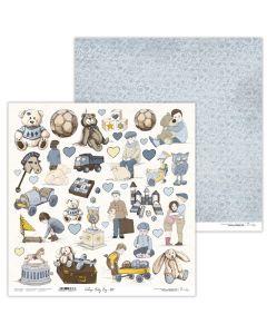 Dvostranski papir - Vintage Baby Boy 07 - 30,5x30,5cm - 250g - Lexi Design