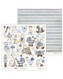 Dvostranski papir - Vintage Baby Boy 10 - 30,5x30,5cm - 250g - Lexi Design