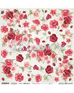 Papir za rezanje -  Vintage garden - Flowers 1 - 30,5x30,5cm - 250g