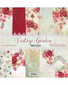 Set dvostranskih papirjev - Vintage Garden - 30,5x30,5cm - 5 listov + naslovnica - 250g