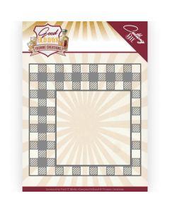 Rezalna šablona - Yvonne Creations - Good old day's - Checkered Frame - 12,2x12,2cm