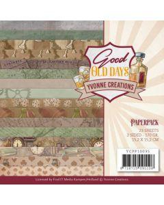 Set dvostranskih papirjev - Yvonne Creations - Good old day's - 15,2x15,2cm - 170g - 23 listov