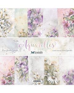 Set dvostranskih papirjev - Aquarelles - 30,5x30,5cm - 5 listov + naslovnica - 250g