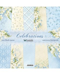 Set dvostranskih papirjev - Celebrations Blue - 30,5x30,5cm - 5 listov - 250g